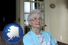 alaska map icon and a senior woman in an assisted living facility
