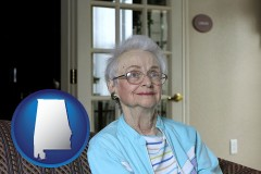 alabama map icon and a senior woman in an assisted living facility