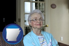 arkansas map icon and a senior woman in an assisted living facility