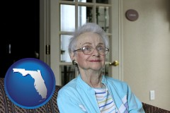 Florida - a senior woman in an assisted living facility