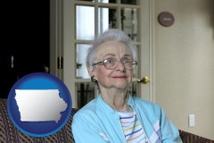 iowa map icon and a senior woman in an assisted living facility