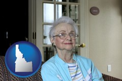 idaho map icon and a senior woman in an assisted living facility