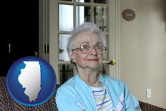 Illinois - a senior woman in an assisted living facility