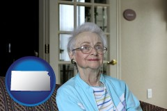 Kansas - a senior woman in an assisted living facility