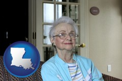 louisiana map icon and a senior woman in an assisted living facility
