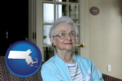 Massachusetts - a senior woman in an assisted living facility