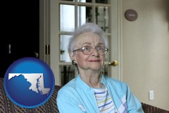 maryland map icon and a senior woman in an assisted living facility