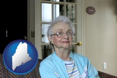 maine map icon and a senior woman in an assisted living facility
