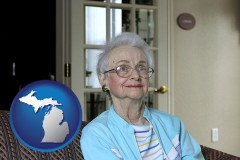 michigan map icon and a senior woman in an assisted living facility