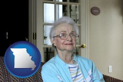 missouri a senior woman in an assisted living facility