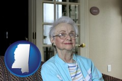 mississippi map icon and a senior woman in an assisted living facility