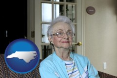 north-carolina map icon and a senior woman in an assisted living facility