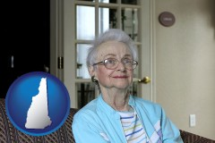 new-hampshire map icon and a senior woman in an assisted living facility