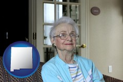 new-mexico map icon and a senior woman in an assisted living facility