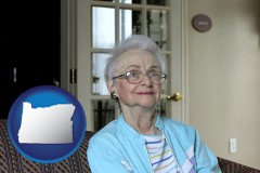 oregon map icon and a senior woman in an assisted living facility