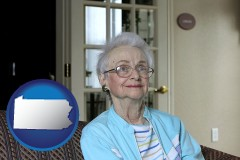 pennsylvania map icon and a senior woman in an assisted living facility