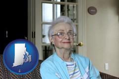 rhode-island map icon and a senior woman in an assisted living facility