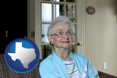 texas map icon and a senior woman in an assisted living facility