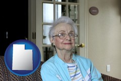utah map icon and a senior woman in an assisted living facility