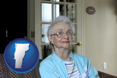 vermont map icon and a senior woman in an assisted living facility