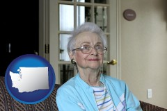 washington a senior woman in an assisted living facility