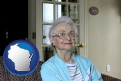 wisconsin a senior woman in an assisted living facility