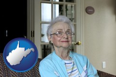 west-virginia map icon and a senior woman in an assisted living facility