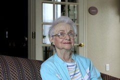 a senior woman in an assisted living facility